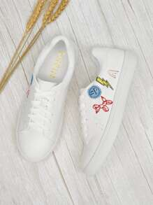 Cartoon Embroidery Lace-up Sneakers