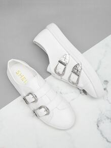 Buckle Decor PU Sneakers