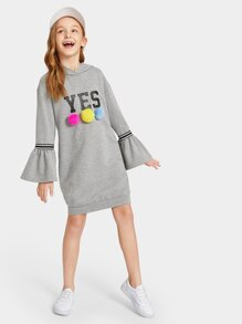 Girls Letter Print Pompom Detail Hooded Sweatshirt Dress