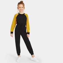 Girls Tied Waist Color-block Raglan Sleeve Jumpsuit