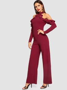 Ruffle Halter Cold Shoulder Tailored Jumpsuit