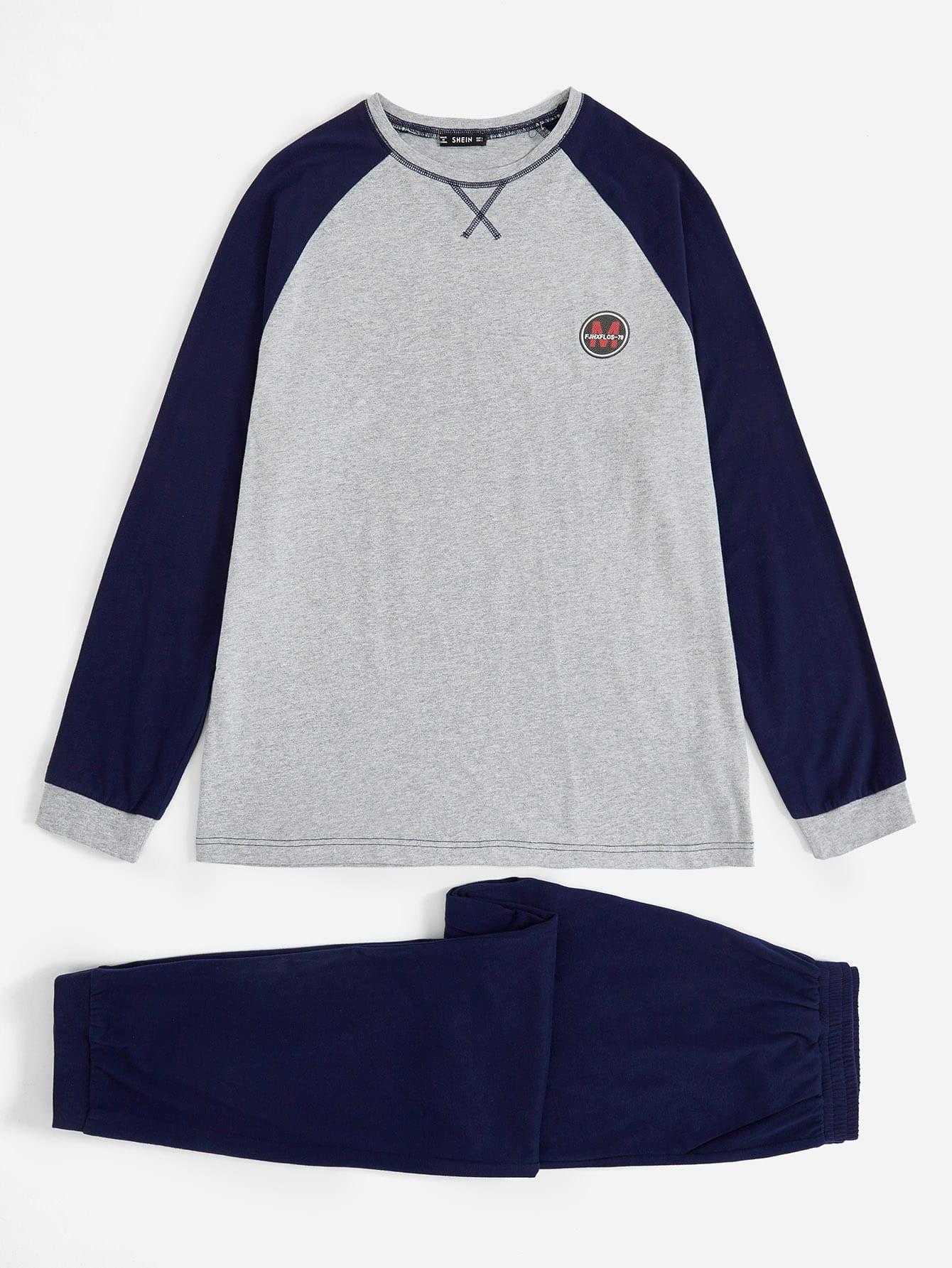9517584ddf Men Color-block Raglan Sleeve Tee & Pants PJ Set EmmaCloth-Women ...