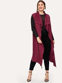 Plus Waterfall Solid Sleeveless Coat