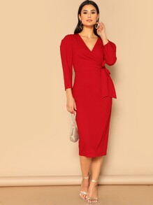 Surplice Wrap Knot Puff Sleeve Dress