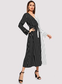 Color Block Belted Striped Dress