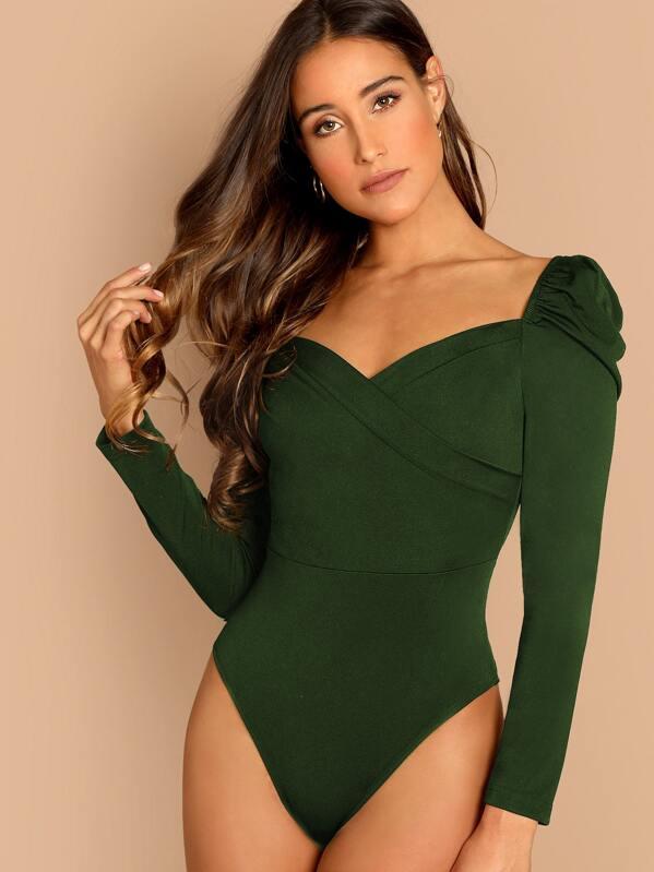 72adaed351a0 Wrap Sweetheart Neck Puff Sleeve Bodysuit | SHEIN IN