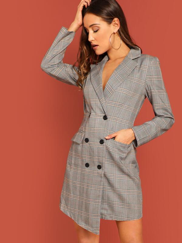 5a70b448cfa4 Glen Plaid Double Breasted Blazer Dress | SHEIN UK