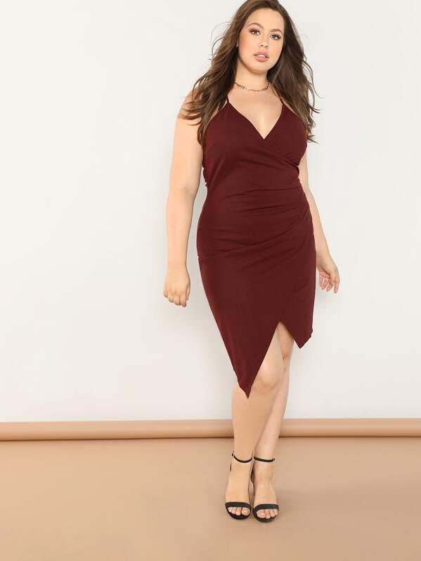 Plus Asymmetric Hem Ruched Wrap Cami Dress | SHEIN