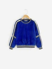Girls Striped Trim Teddy Pullover