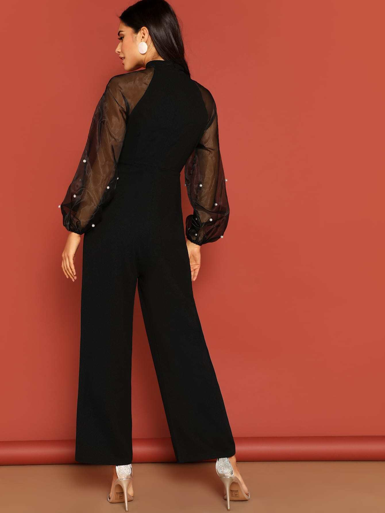 8cdae19efb92e8 Pussy Bow Pearl Beaded Mesh Raglan Sleeve Jumpsuit | SHEIN UK
