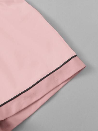 c037b8d02d Contrast Piping Pocket Front Shirt & Shorts PJ Set | ROMWE