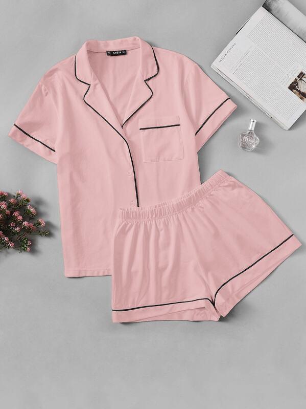 51791f7676 Contrast Piping Pocket Front Shirt & Shorts PJ Set | SHEIN UK