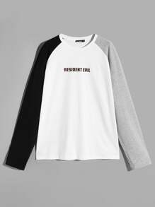 Men Color-block Raglan Sleeve Letter Tee