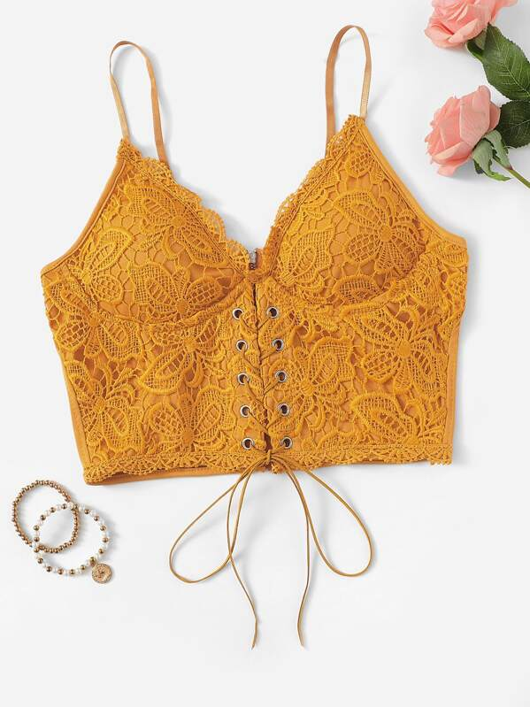 a9861861a7a41 Lace Up Front Crop Cami Top