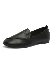 Solid PU Flat Loafers
