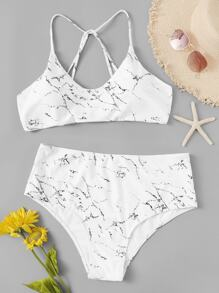Plus Marble Print Top With High Waist Bikini