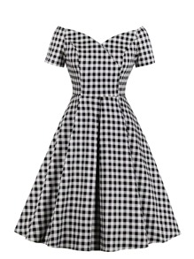 50s Off-The-Shoulder Gingham Flared Dress