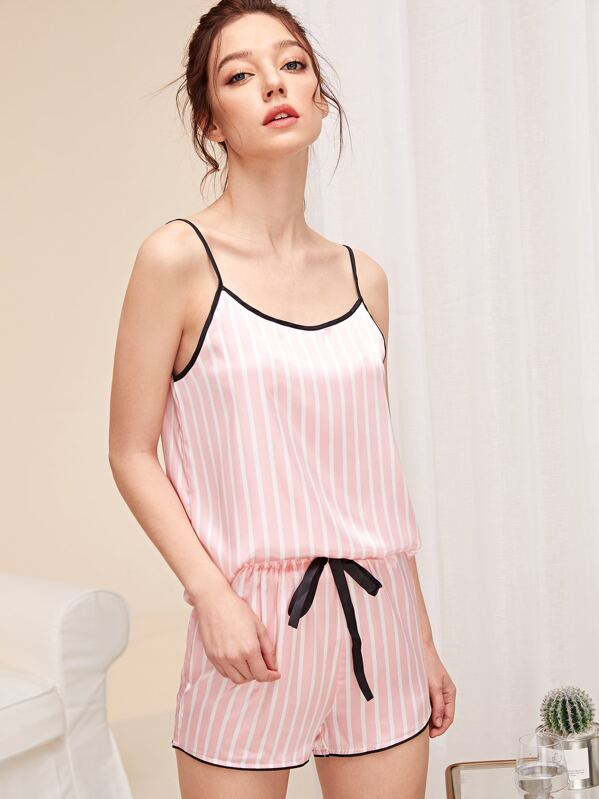 6e8fa3b0af Striped Satin Cami Top & Shorts PJ Set | SHEIN
