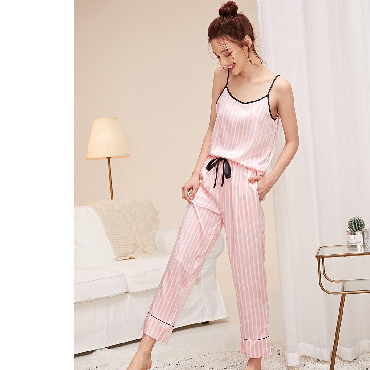 Pink Knoten  Gestreift Casual  Loungewear