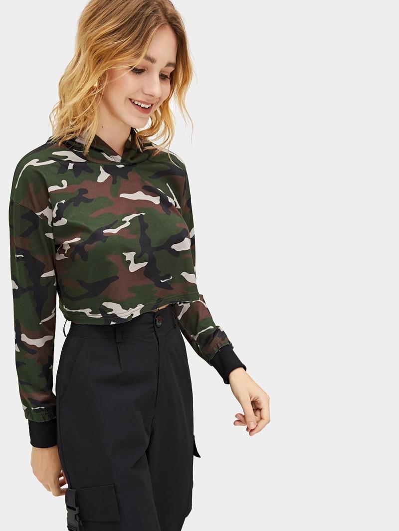 À Camouflage Pull Imprimé Court Avec Capuche yOP8n0wNvm