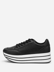 Plain Lace-up Chunky Sneakers