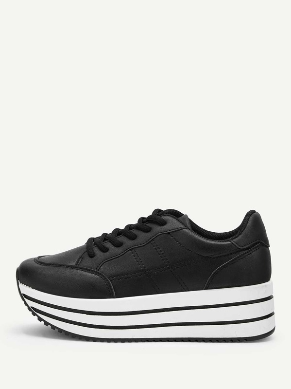 eed0cea6df Plain Lace-up Chunky Sneakers | SHEIN