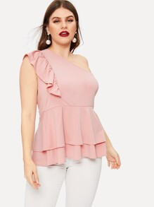 Plus One Shoulder Ruffle Hem Blouse