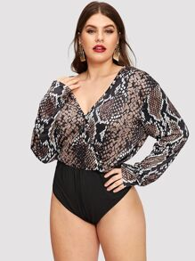 Plus Snake Print Surplice Bodysuit
