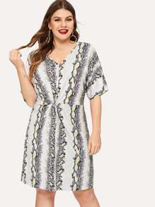 Plus Snakeskin Print Twist Front Dress
