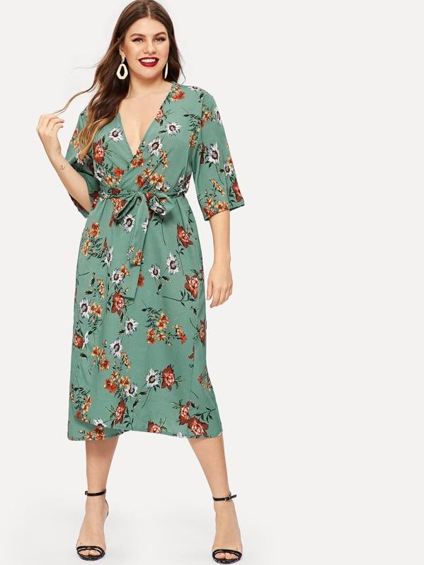 e7d1f9a4121 Plus Floral Print Self-tie Wrap Chiffon Dress   SHEIN UK