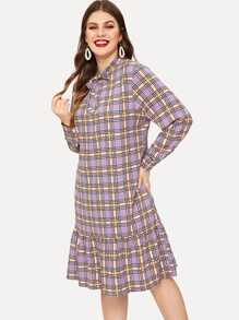 Plus Plaid Tie Neck Ruffle Hem Dress