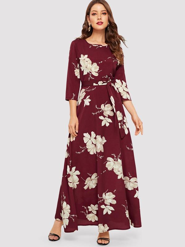 ecfc1ebdac Floral Print Self Tie Maxi Dress   SHEIN