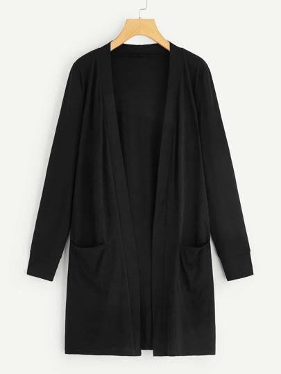 Plus Dual Pocket Open Front Coat