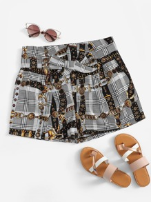 Chain Print Plaid Shorts