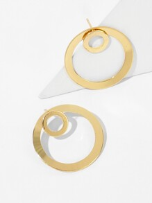 Circle Decor Hoop Stud Earrings 1pair