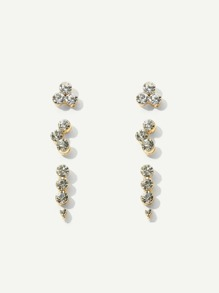 Rhinestone Stud Earrings 3pairs