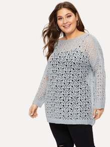Plus Open-knit Drop Shoulder Sweater