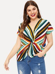 Plus Multi-stripe Twist Front Tee