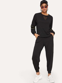 Contrast Mesh Letter Taped Side Sweatshirt With Pants
