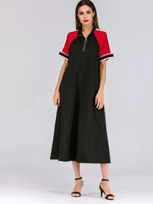 Zip Half Placket Drawstring Waist Dress