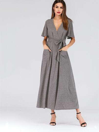 9dd2b2fd Plunging Neck Pocket Detail Knot-front Dress