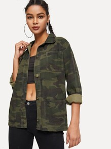 Camo Stitch Detail Pocket-front Denim Jacket