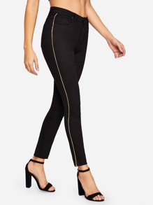 Contrast Ribbon Raw Hem Jeggings