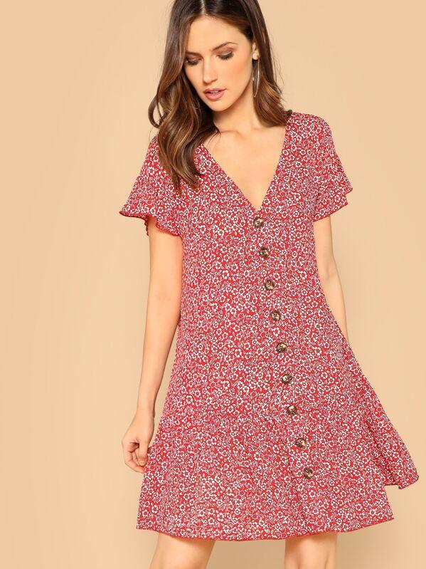 e2661da541 V Neck Button Front Floral Print Shirt Dress | SHEIN