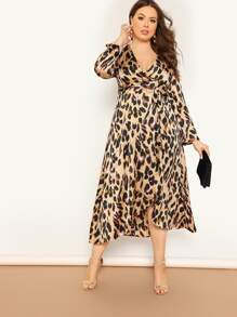 plus leopard print surplice wrap dress