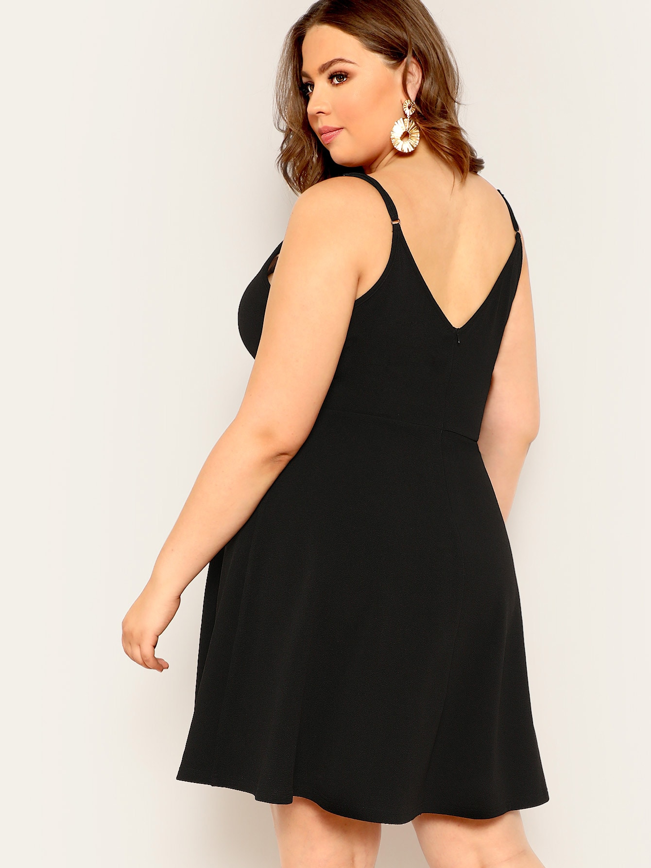 Plus Surplice Neck Solid Cami Dress | SHEIN