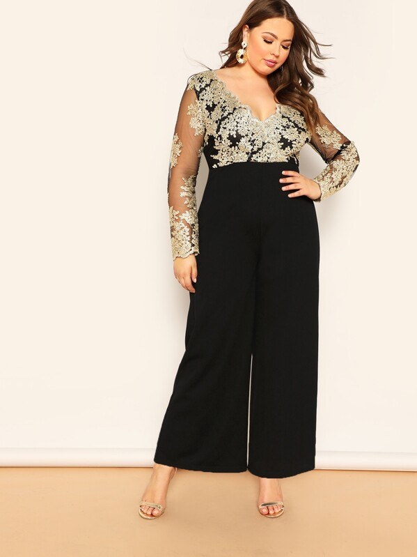 720393f6b4 Plus Embroidered Mesh Bodice Wide Leg Jumpsuit | SHEIN