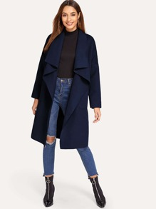 Pocket Front Belted Waterfall Coat