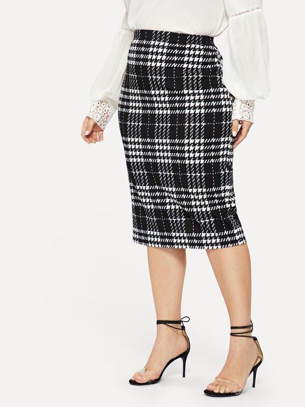 b5b6b2e761 Plus Plaid Print Bodycon Skirt | SHEIN IN