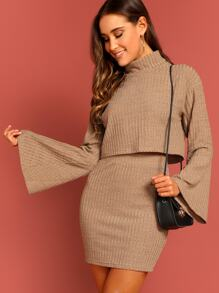 Rib-knit Bell Sleeve Pullover & Skirt Set